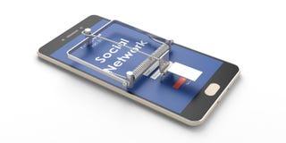 изображение сети 3d представило social Ловушка мыши Smartphone изолированная на белой предпосылке иллюстрация 3d Стоковые Фотографии RF