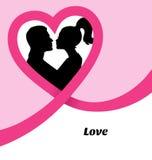 Изображение силуэта пары целуя Стоковая Фотография RF