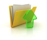 изображение скоросшивателя 3d представило желтый цвет Стоковое Изображение