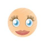 изображение смайлика девушки чертежа милое Стоковое Изображение RF