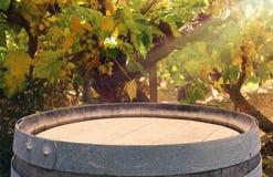 Изображение старого бочонка вина дуба перед ландшафтом двора вина Полезный для монтажа дисплея продукта Стоковые Фото