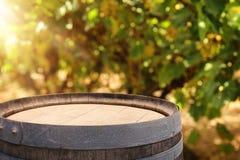 Изображение старого бочонка вина дуба перед ландшафтом двора вина Полезный для монтажа дисплея продукта Стоковое фото RF
