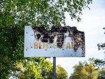 Изображение старого, который сгорели конца знака вверх стоковое фото rf