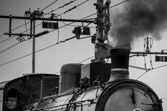 Изображение старого поезда пара черно-белое Стоковая Фотография