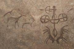Изображение сцены звероловства старого человека на стене пещеры иллюстрация вектора