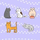 Изображение с милыми котами с следами ноги на предпосылке Иллюстрация вектора