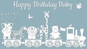 Изображение с надпис-счастливым младенцем дня рождения Шаблон с иллюстрацией вектора игрушек Животные на поезде Для отрезка лазер иллюстрация штока
