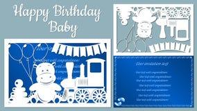 Изображение с надпис-счастливым младенцем дня рождения Шаблон с иллюстрацией вектора игрушек Животные на поезде для бесплатная иллюстрация