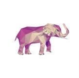 Изображение слона Изолированное низкое поли животное Млекопитающее Африки Стоковое Изображение