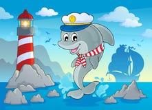 Изображение с темой 7 дельфина иллюстрация вектора