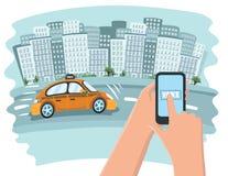 Изображение такси, мобильный телефон Стоковая Фотография