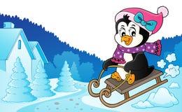 Изображение 6 темы пингвина Sledging иллюстрация штока