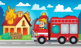 Изображение 5 темы пожарной машины Стоковое Изображение