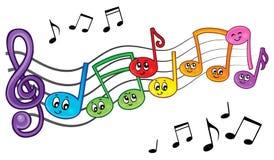Изображение 2 темы примечаний музыки шаржа Стоковое Изображение RF