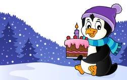 Изображение 2 темы торта удерживания пингвина иллюстрация вектора