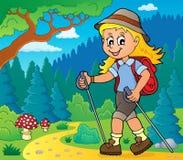 Изображение 2 темы hiker женщины иллюстрация вектора