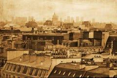 Изображение типа год сбора винограда крыш Парижа стоковое изображение rf