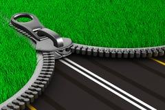 изображение травы 3d изолировало застежку -молнию дороги 3d Стоковые Фото