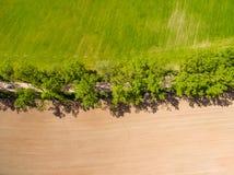 изображение трутня вид с воздуха сельского района с полями Стоковая Фотография