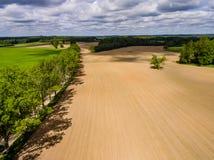 изображение трутня вид с воздуха сельского района с полями Стоковое Фото
