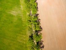 изображение трутня вид с воздуха сельского района с полями Стоковое фото RF