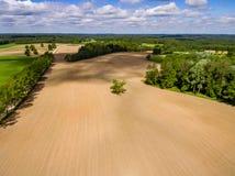 изображение трутня вид с воздуха сельского района с полями Стоковые Изображения RF
