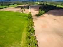 изображение трутня вид с воздуха сельского района с полями Стоковые Изображения