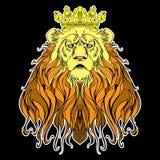 Изображение увенчанного льва на черноте Стоковое Изображение