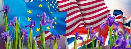 Изображение флагов и цветков Стоковое Фото