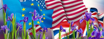 Изображение флагов и цветков Стоковое Изображение