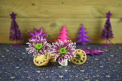 Изображение фотографии еды рождества с традиционной едой семенит пироги с английскими цветками зимы и украшениями яркого блеска Стоковое Изображение RF