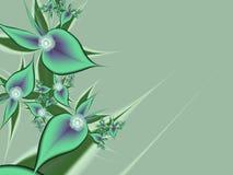 Изображение фрактали с цветками текст ваш Зеленый цвет Стоковая Фотография