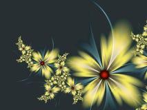 Изображение фрактали с цветками текст ваш Черный и желтый цвет Стоковая Фотография RF
