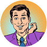 Изображение характера символа значка воплощения милого красивого человека круглое Стоковая Фотография RF