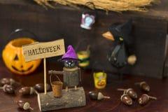 Изображение хеллоуина с вороной и фонариком Джека o стоковая фотография