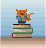 Изображение хитро красных кота, лисы и книг Стоковое Фото