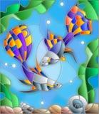 Изображение цветного стекла аквариума удит на предпосылке воды и водорослей Стоковое Изображение RF
