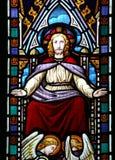Изображение цветного стекла Иисуса и ангелов Стоковые Изображения RF