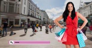 Изображение цифров составное женщины держа хозяйственные сумки и бар поиска Стоковое Изображение