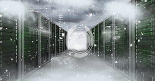 Изображение цифров составное серверов и облаков бесплатная иллюстрация