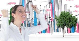Изображение цифров составное успешной коммерсантки празднуя в вычерченном городе Стоковые Фото
