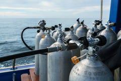Изображение цилиндров кислорода для нырять, конец-вверх Стоковое Изображение RF