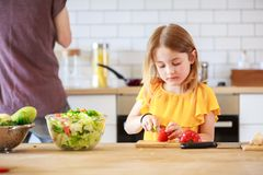 Изображение человека при дочь варя овощи стоковые изображения rf