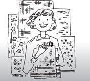 Изображение шаржа женщины Стоковое фото RF