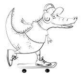 Изображение шаржа изумительного skateboarding аллигатора иллюстрация штока