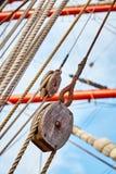 Изображение шкива старого парусного судна деревянного Стоковое фото RF