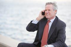 Изображение штока бизнесмена на телефоне Стоковая Фотография RF