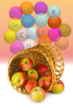 Изображение яблок в крупном плане корзины корзины Стоковые Фотографии RF