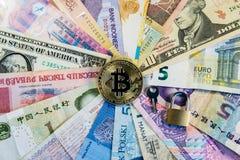 Изображение bitcoin валюты международной безопасности схематическое интернационализма и безопасности bitcoin Стоковые Изображения RF