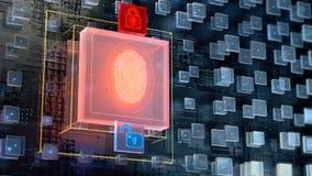 изображение 3d предпосылки конспекта blockchain с большим цифровым блоком утверждения отпечатка пальцев и накаляя padlock 2 бесплатная иллюстрация
